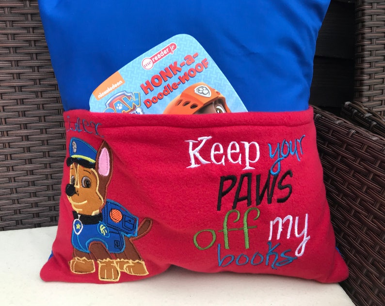 Personalised reading book pillow Paw patrol design book image 0