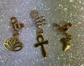 3pcs Gold set with Africa,Lotus Flower and Ankh charms