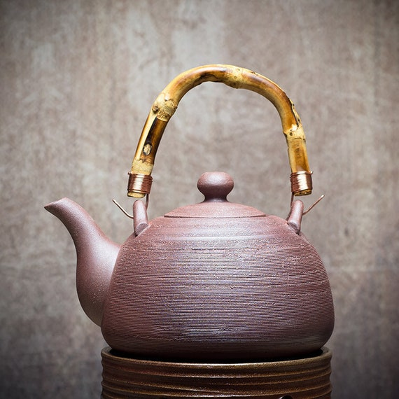 ChaoZhou Pottery Pumpkin Water Boiling Kettle 760ml Drum Charcoal Stove  for Chinese Gongfu Tea Tea Wares Gifts.