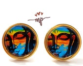 Gold or Black STUDS Earrings with Images, Face of Buddha - Spiritual Jewelry, Hypoallergenic - Gift Idea for her