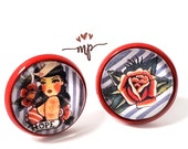 Red STUDS Earrings with Rockabillly Style Images - Woman Sailor Style and Red Rose - Gift Idea for her