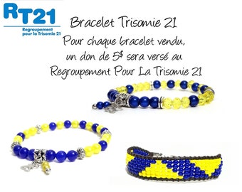 For the trisomy 21 - Pearl Bracelet Czech glass and jade - yellow and blue for woman, child, man - stainless steel stopper