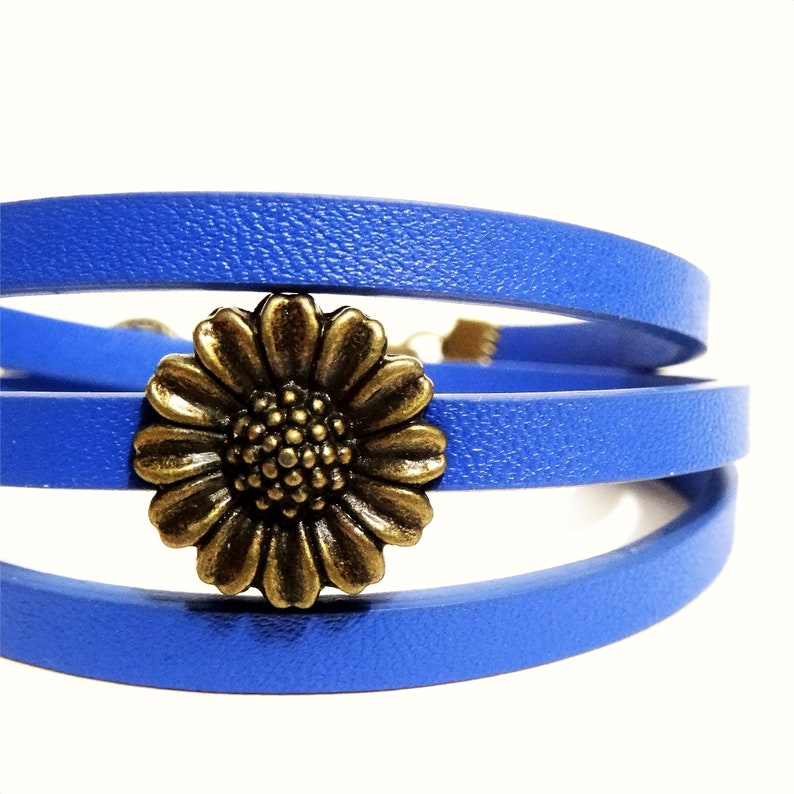 sunflower Bracelet Wraps leatherette flat with choice of color and charm spiral heart anchor