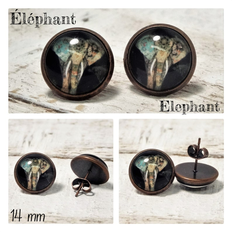 the spiritual Earrings STUD copper or stainless steel STUDS in 12 or 14 mm glass Cabochons and Supports in brass