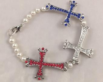 Red, White, and Blue Cross Bracelet