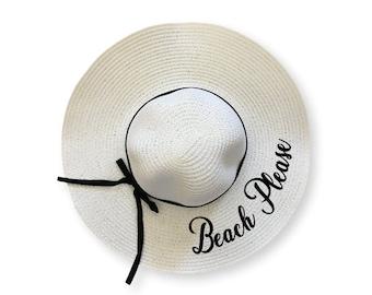 08f3f6bf Beach Please beach hat, bride Floppy Beach Hat, Floppy Sun Hat, Bride Hat,  Custom Personalized Floppy Mrs. Hat, Beach Bride