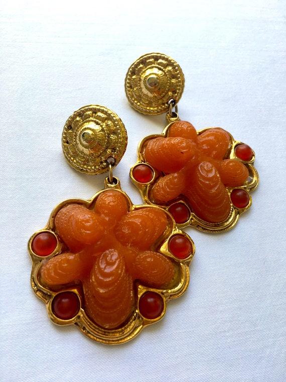 VINTAGE chunky XXL clip earrings gold & orange