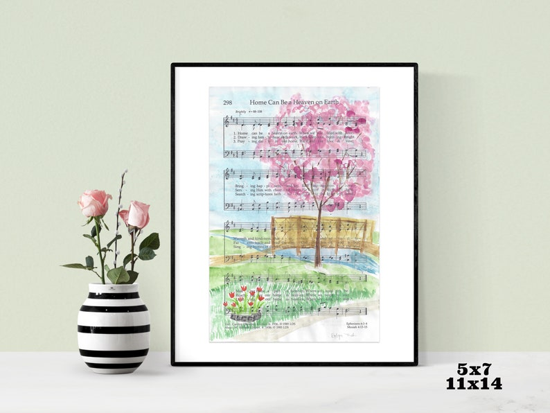 Hymn Art- Home Can Be A Heaven On Earth -LDS- Watercolor -Print-  Thanksgiving Point- Ashton Gardens- Tulip Festival- Wall Art- Home Decor
