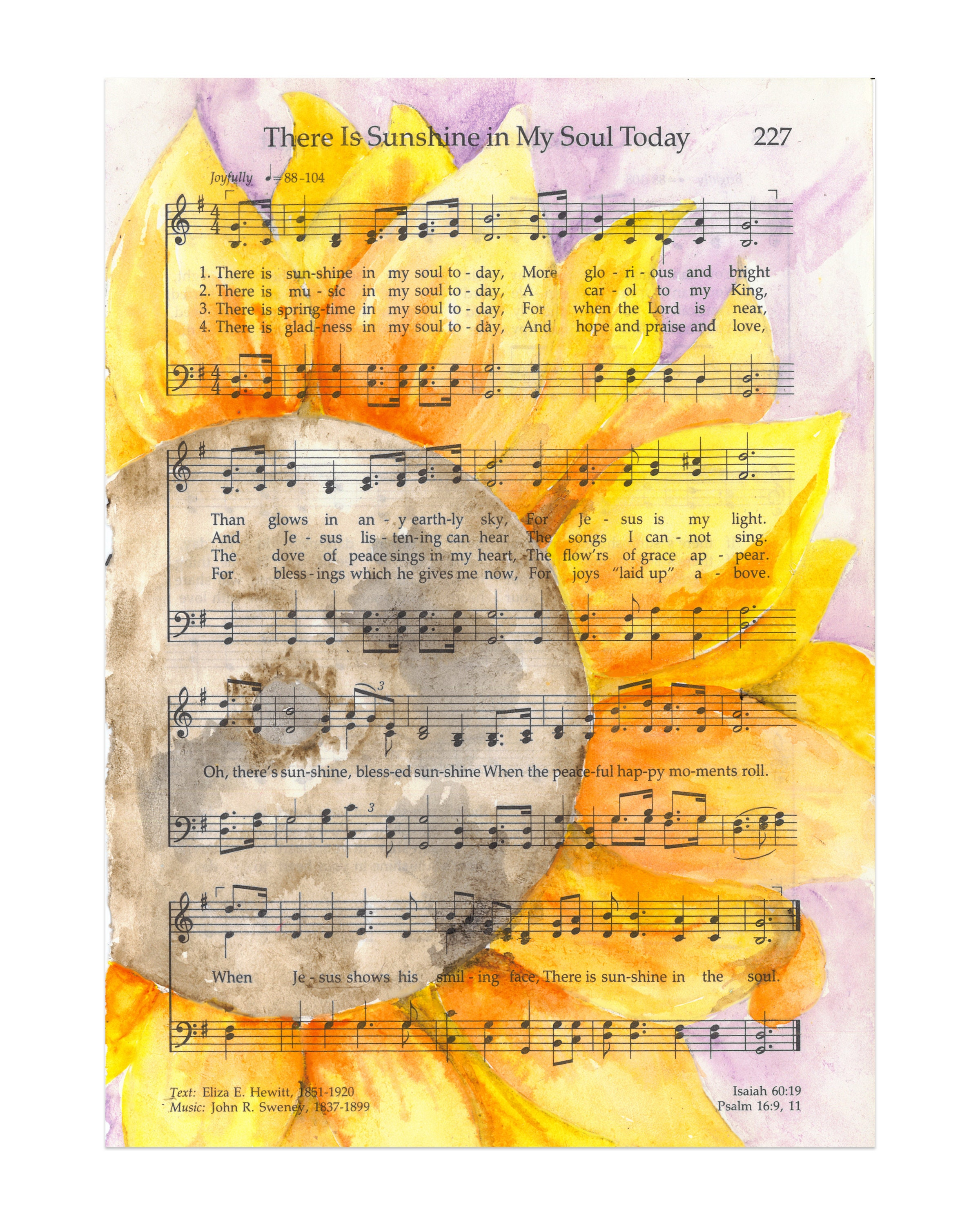 Sunflower Watercolor There is Sunshine in My Soul LDS Hymn | Etsy