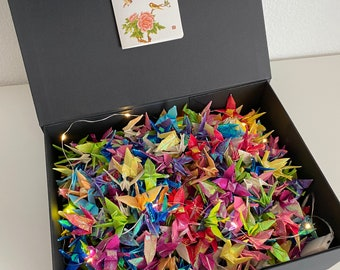 Gift box of handmade small Japanese origami Crane wrapped ready