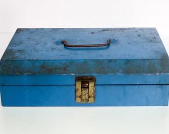 Vintage Industrial Metal Toolbox