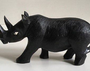 Vintage Hand-Carved Ebony Rhinocerii