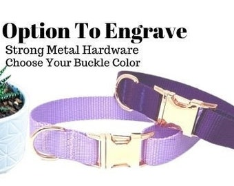 Purple Or Lavender Girl Dog Collar, Rose Gold, Nylon, Personalized Puppy Collar, Engraved Pet Collar, Cute Custom Dog Collar With Name