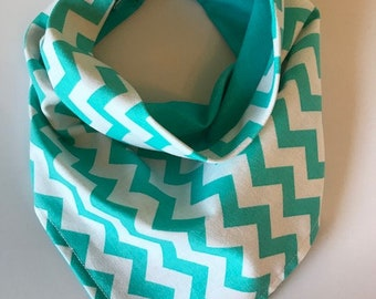 Reversible Teal And White Chevron Dog or Cat Bandana, Dog Bandana, Dog Scarf