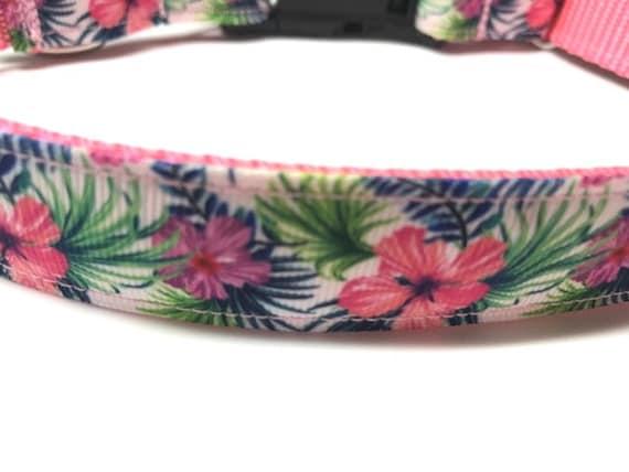 Pink, Blue, Green Hibiscus Hawaiian Inspired Dog Collar In Medium, Large, Extra Large