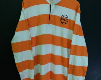 c9a0a0e1 Vintage Baby Milo Polo Shirt Rugby Long Sleeve Stripe Rare Made in Japan