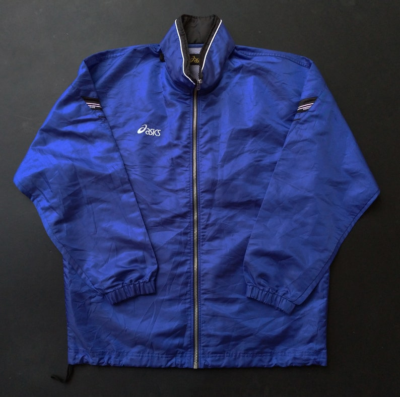 0db3f9a414312 Vintage 90s Asics Mens L Spell Out Full Zip Hooded Windbreaker | Etsy