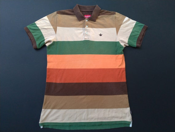 Supreme Crown Logo Polo Tee Shirt Casual Stripe Sk