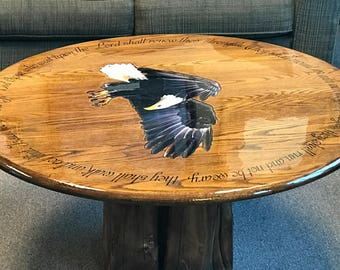 Isaiah 40:31 oak coffee table