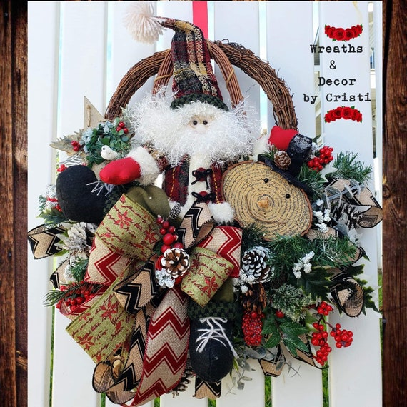 Santa Wreath Christmas Wreath Holiday Wreath Gifts for her | Etsy