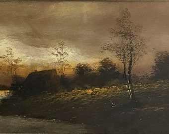 Antique 1940 Cambridge College Oil Painting Board Waterscape Stone Steps English