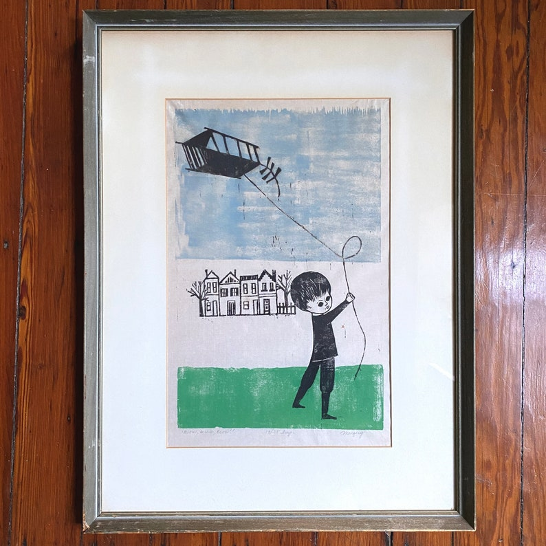 Framed Mid Century Modern Margery Niblock Signed and Numbered Woodcut Print