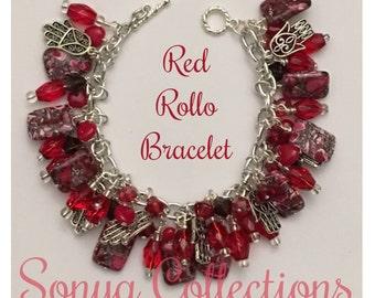Red Rollo Bead Bracelet