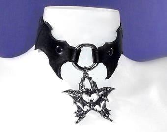 Leather Bat Pentacle Collar
