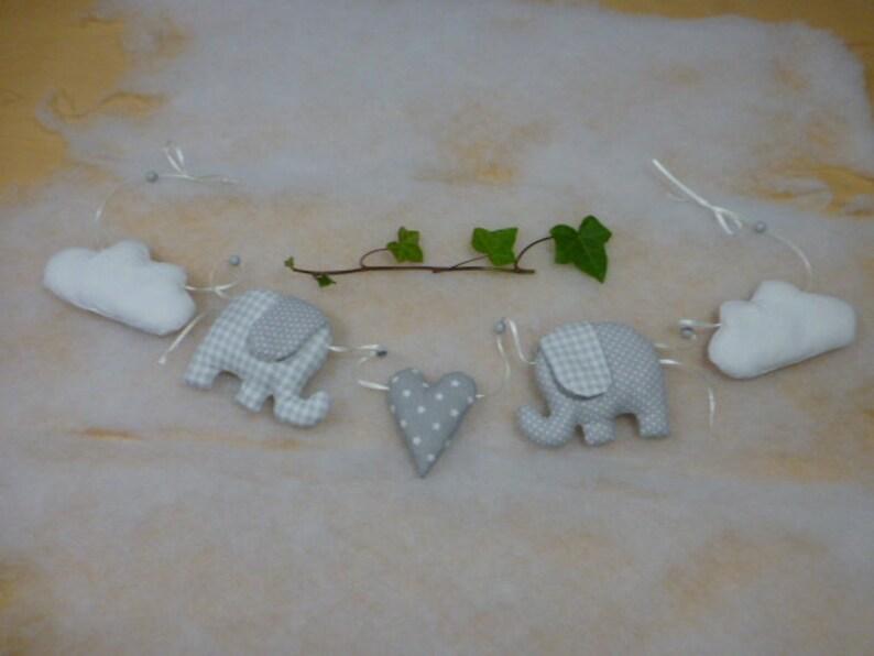 Süße Girlande Deko Kette Geburt Taufe Elefant Geschenk Baby