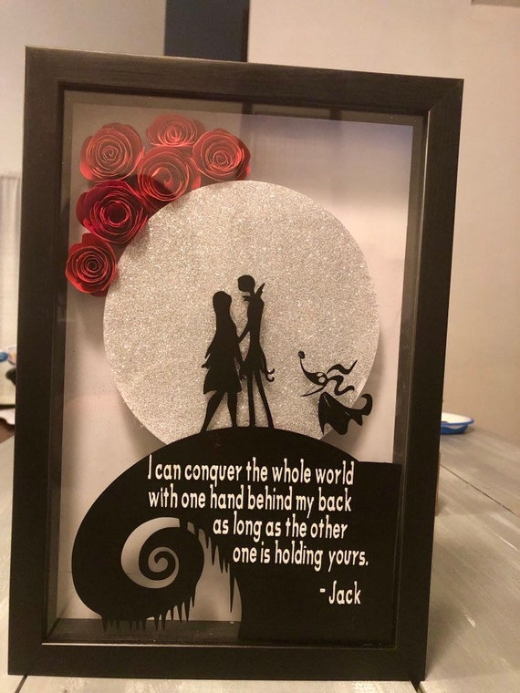 Nightmare Before Christmas Shadow Box Jack And Sally Shadow Box Red Paper Roses Shadow Box Vinyl Decal Home Decor Gift Ideas