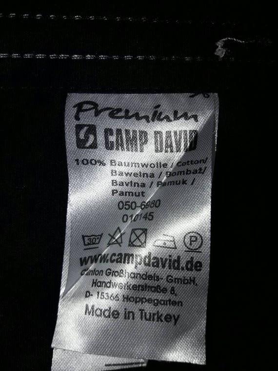 designer fashion meet limited guantity Vintage CAMP DAVID Black Long Sleeve Shirt, size L, Muscle Fit, Big Logo