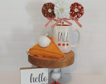 Pumpkin Pie fabric lollipops are the perfect addition to your fall and Thanksgiving tiered tray, drink station, table setting, and more!