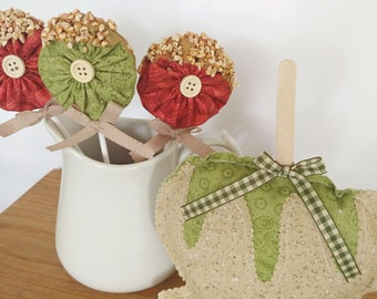 Caramel Apple fabric lollipops are the perfect addition to your fall tiered trays, drink stations, table settings, party decor, and more.