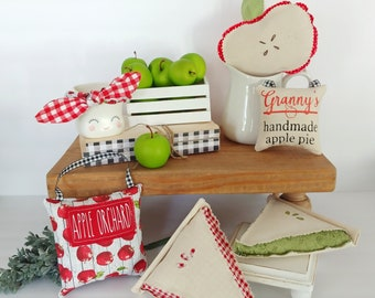 Apple print midi pillows are the perfect addition to your fall decor. Use in tiered trays, vignettes, or hand on a shelf peg, door knob, etc