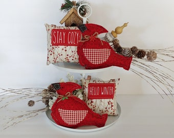 Fabric cardinals are a beautifultouch to your Christmas and winter tiered trays, Christmas trees, bowl fillers, and more.