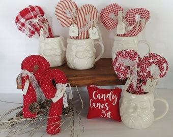 Fabric Candy Canes perfect for your Christmas and winter tiered trays, coffe & hot chocolate bars, Christmas trees, table decor, and more.