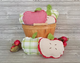 Farmhouse and cottage style stuffed fabric apples are perfect for your summer and fall decor. Use in vignettes, tiered trays, and more.