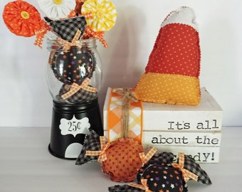 Fabric Halloween candies perfect for your tiered trays, Halloween parties, fall decor, candy stations, bowl fillers, and more.