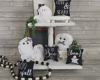 Cute Ghost & Boo theme mini pillows with black and white check ribbon perfect for fall and Halloween decor, tiered trays, tables, and more