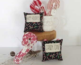 Sweet candy cane midi pillows will be adorable on your Christmas and winter tiered trays, hot chocolate and coffee stations, and ornaments.