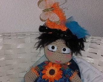 Doll IMP flower crocheted wool 40 cm