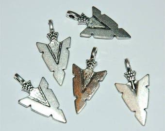 5 arrowheads, arrowhead pendant charm silver 29x15mm #3031
