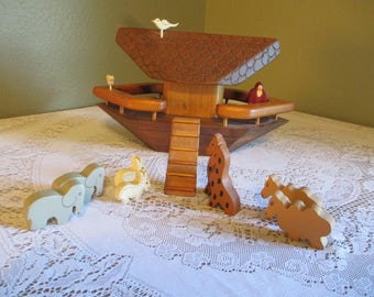 Vintage Hand-carved Hand-stained Wooden NOAH's ARK Play or Display Set Signed Giraffe Elephant Wood Toy Mother's Day Sale!