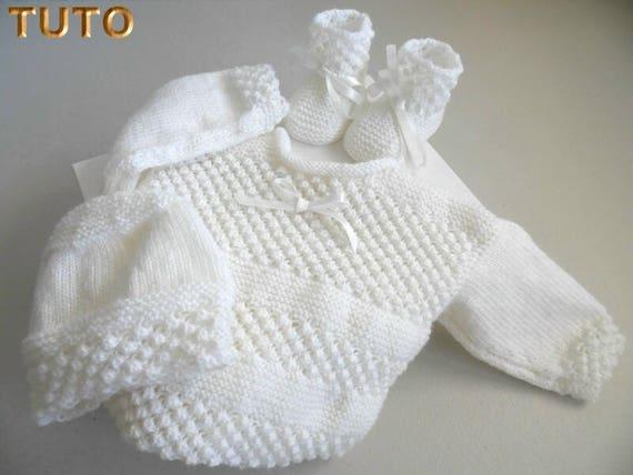 Tuto Tu 016 3m Trousseau Astrakan Blanc Tricot Bb Tricot Bebe Layette Bb Fiche Tricot Bebe Bébé Fait Main