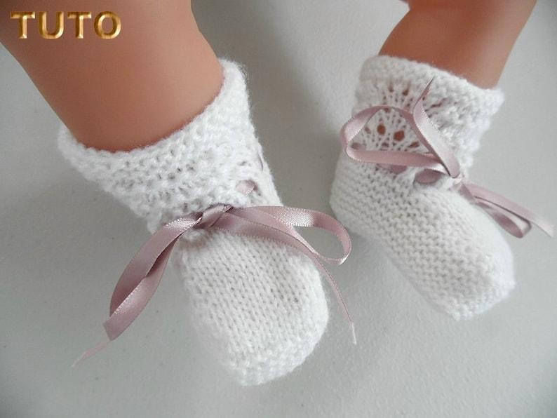 d6ca4d50df7cb TUTO TU-009 1m-Chaussons bébé tricot vagues explications pdf