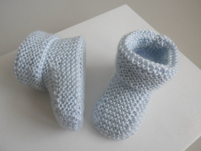 0e3ba810f24bd Chaussons bebe 1m tricot bb tricotes main bleu AZUR laine