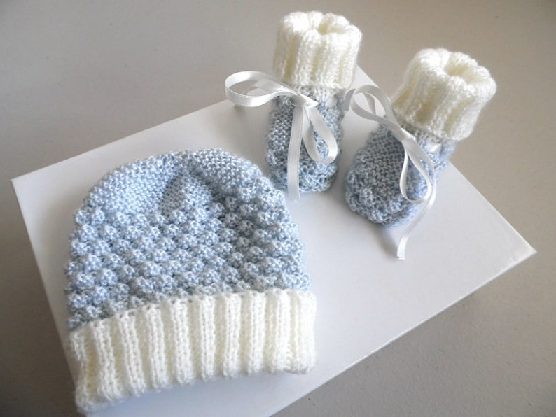 1 m set ecru hand knitted and azure blue baby boy unique knit bb loveys to order Baby hat and booties