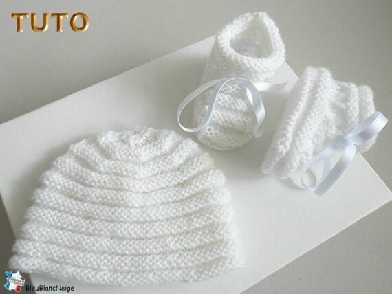 TUTO TU-063-3mois-PDF bonnet et chaussons bb point godron   Etsy 55311828cee