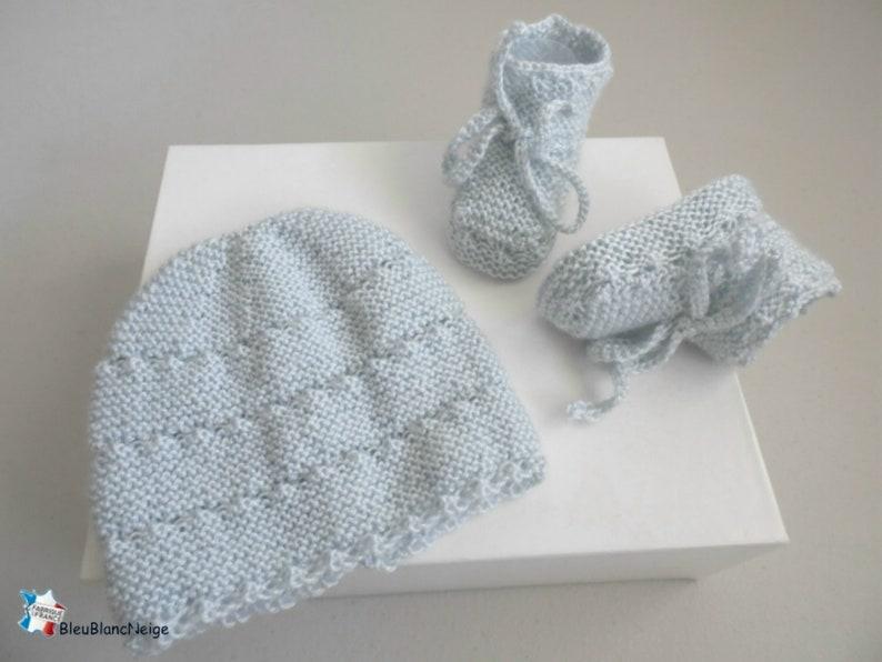 d54ffec8f0d Bonnet bebe et chaussons 1 mois laine azur CALINOU rayé