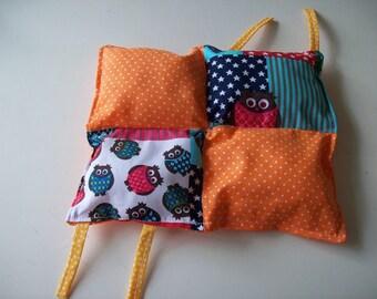 Doudou labels, colorful cotton OWL